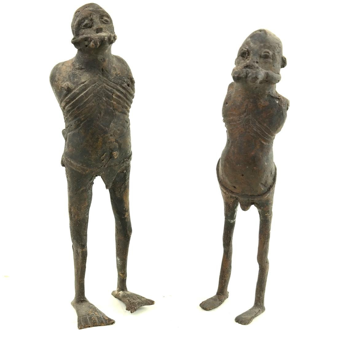 Pair of Metal Slave Figures