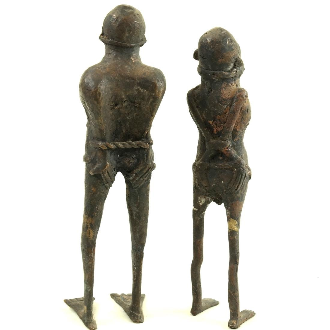 Pair of Metal Slave Figures - 2
