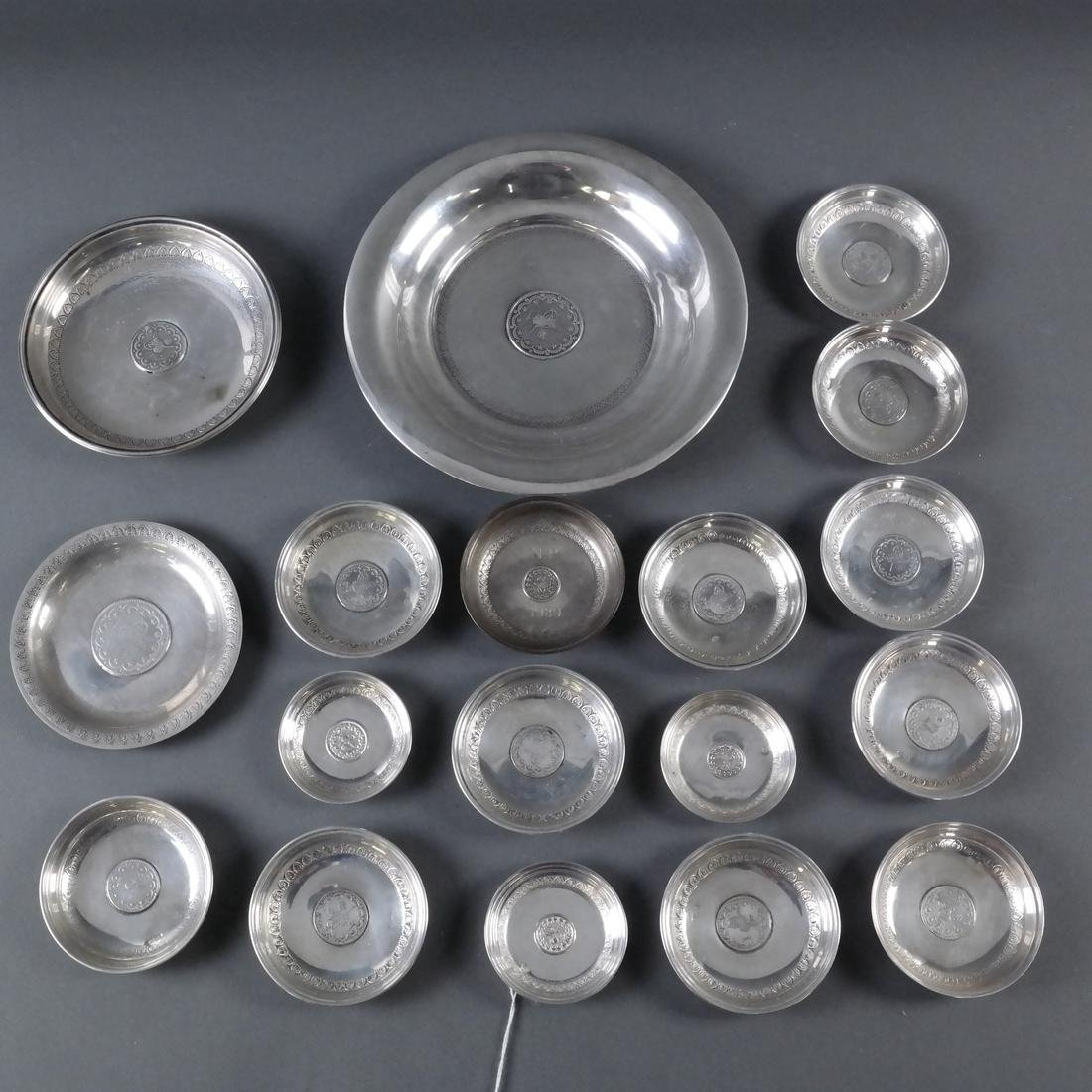 Group of 21 .800 Standard Silver Plates