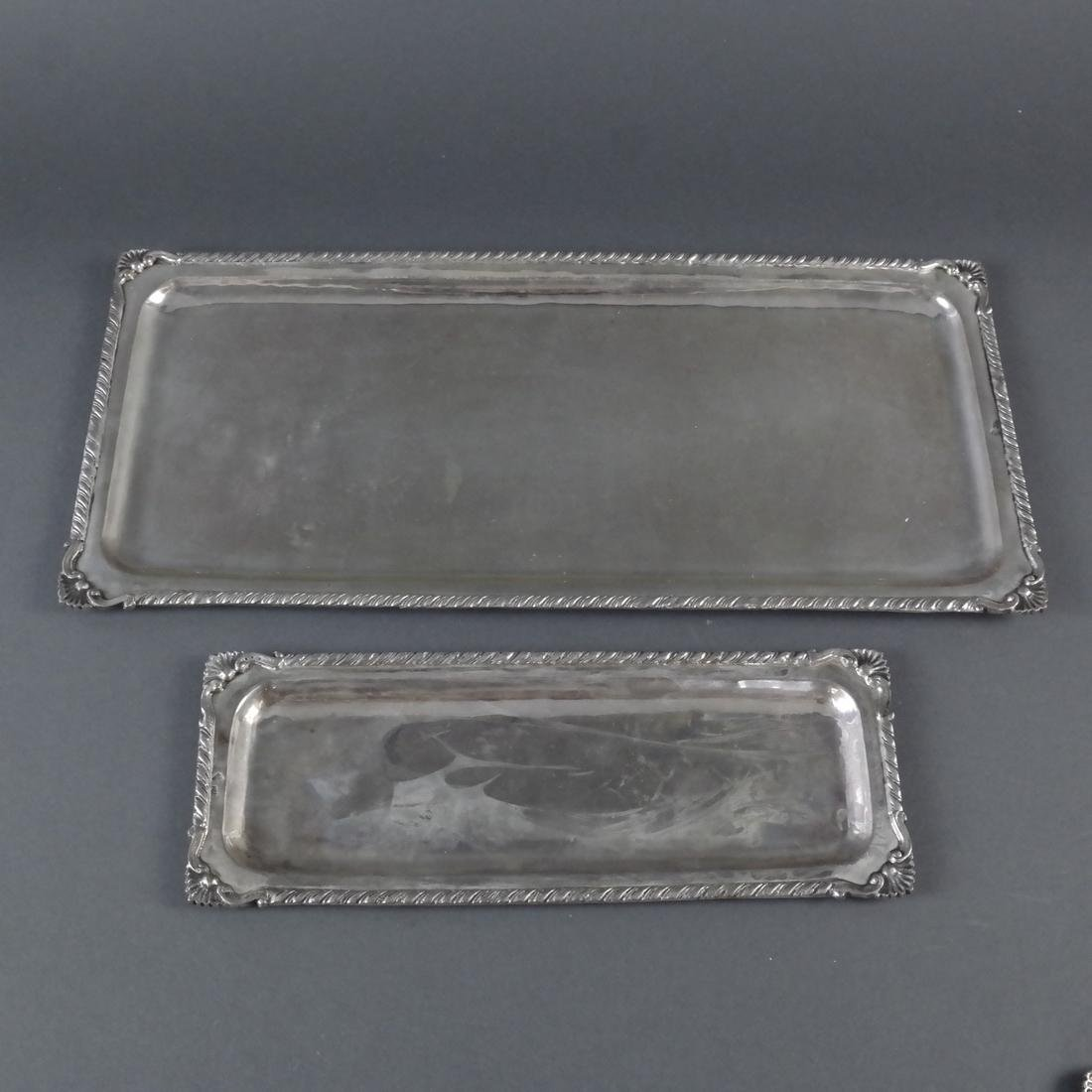 2 .900 Standard Silver Rectangular Trays
