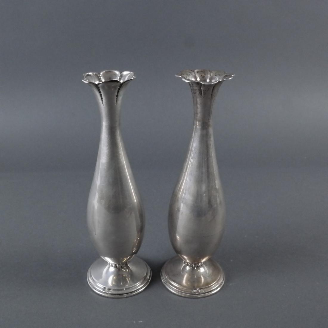 Pair .900 Standard Silver Bud Vases