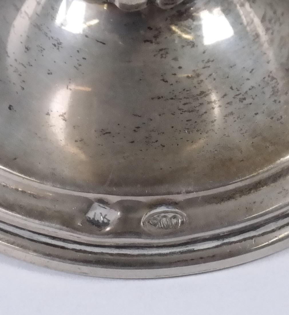 Pair .900 Standard Silver Bud Vases - 2