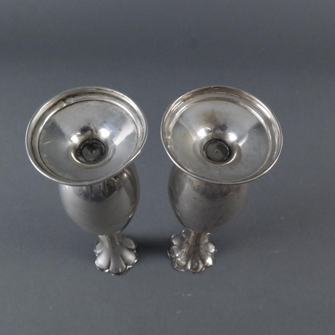 Pair .900 Standard Silver Bud Vases - 6