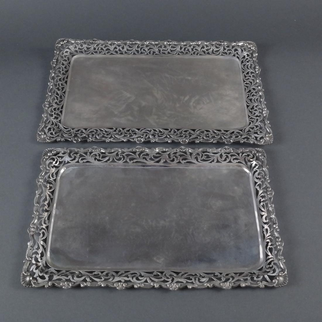 2 .800 Standard Silver Rectangular Trays