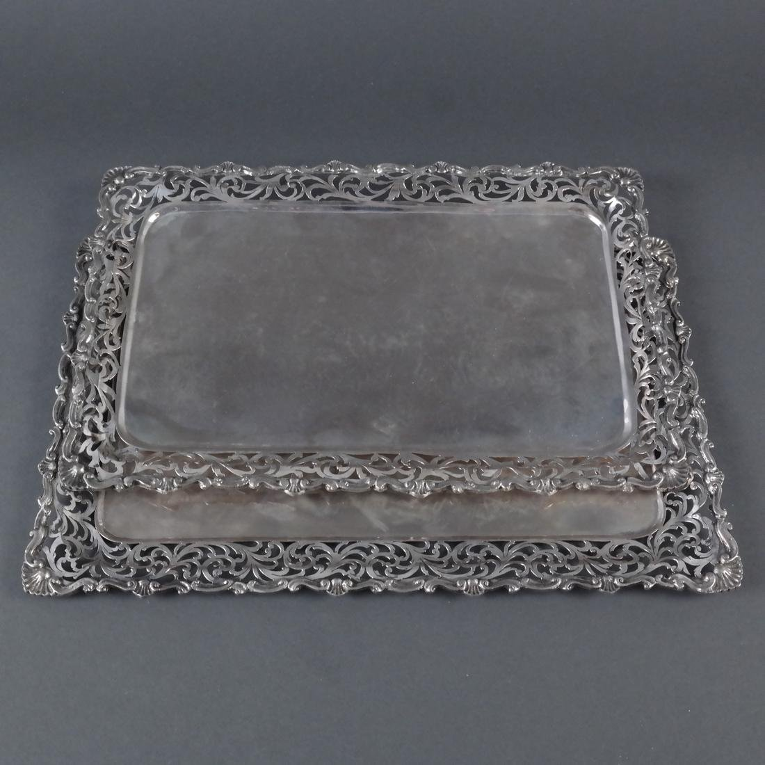 2 .800 Standard Silver Rectangular Trays - 3