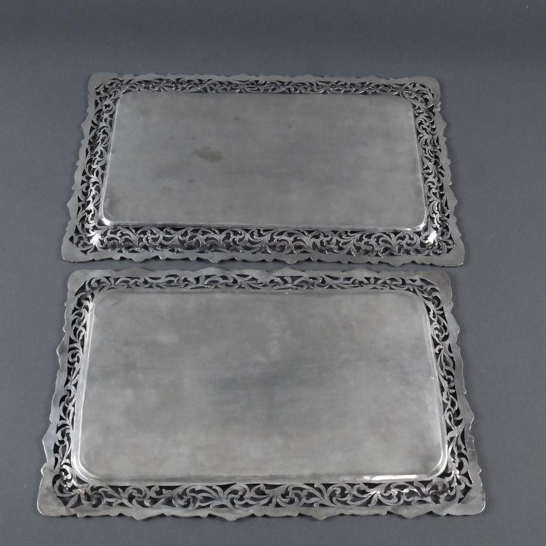 2 .800 Standard Silver Rectangular Trays - 6