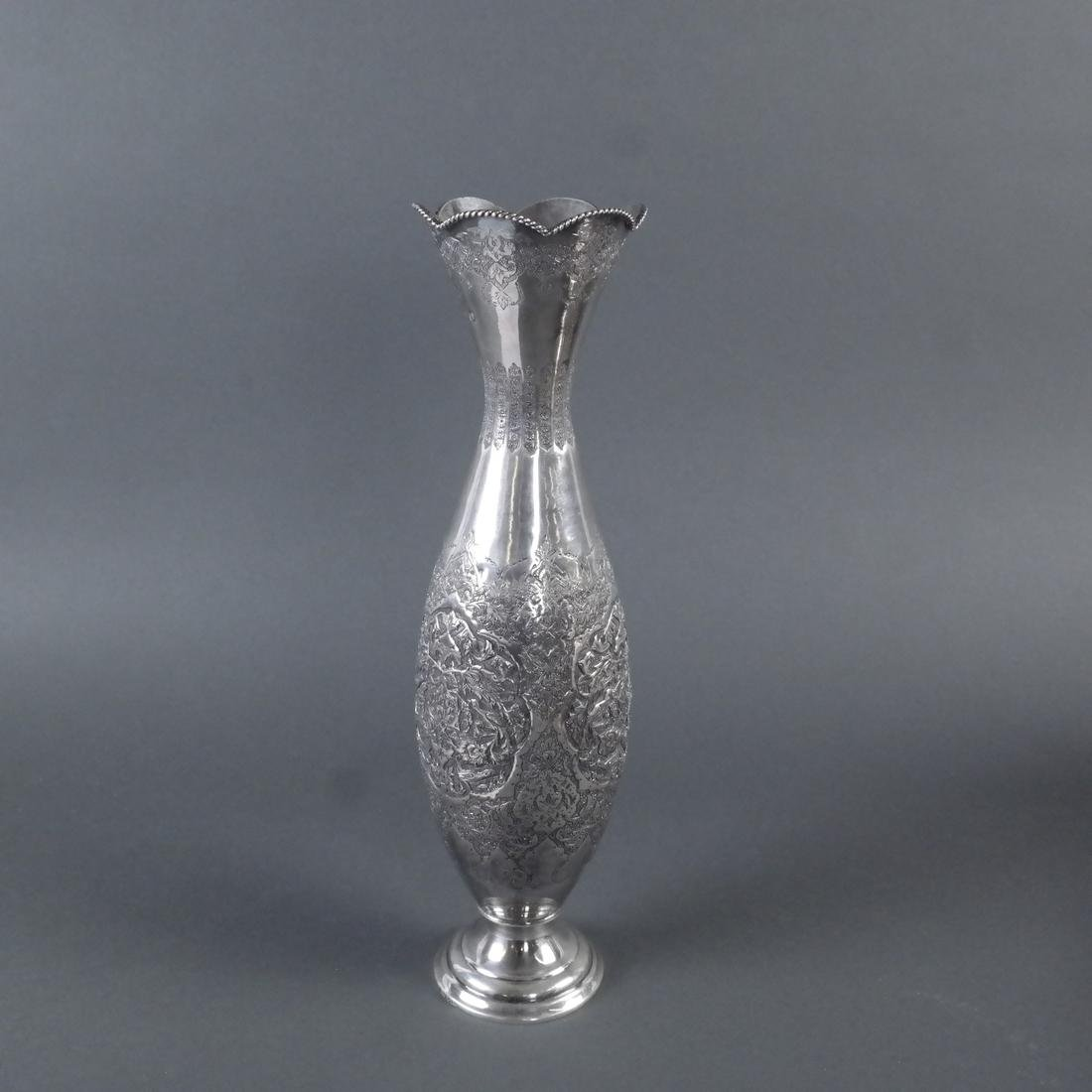 Iranian Silver Incised Vase