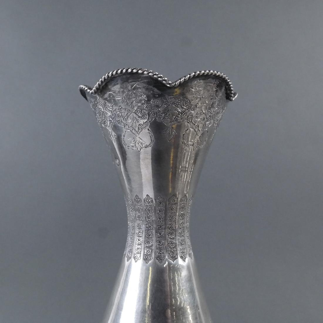 Iranian Silver Incised Vase - 3