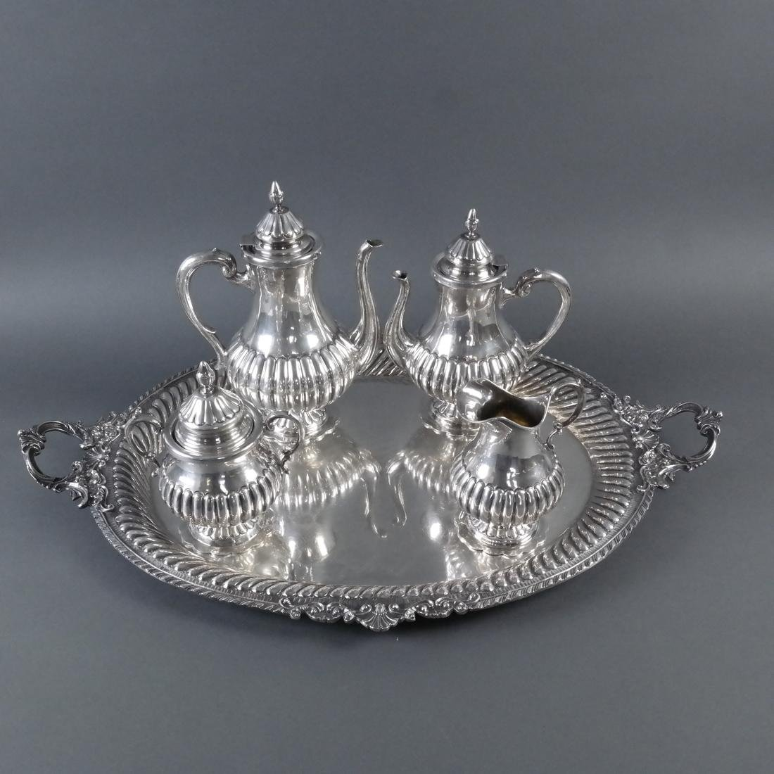 5-Piece .900 Ornate Silver Tea Service