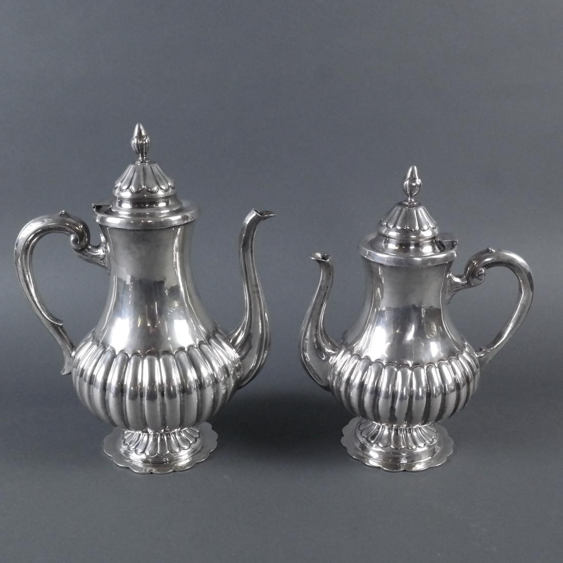 5-Piece .900 Ornate Silver Tea Service - 6
