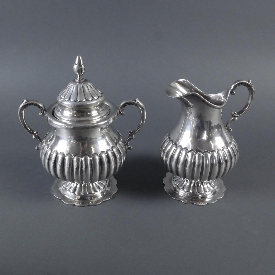 5-Piece .900 Ornate Silver Tea Service - 9