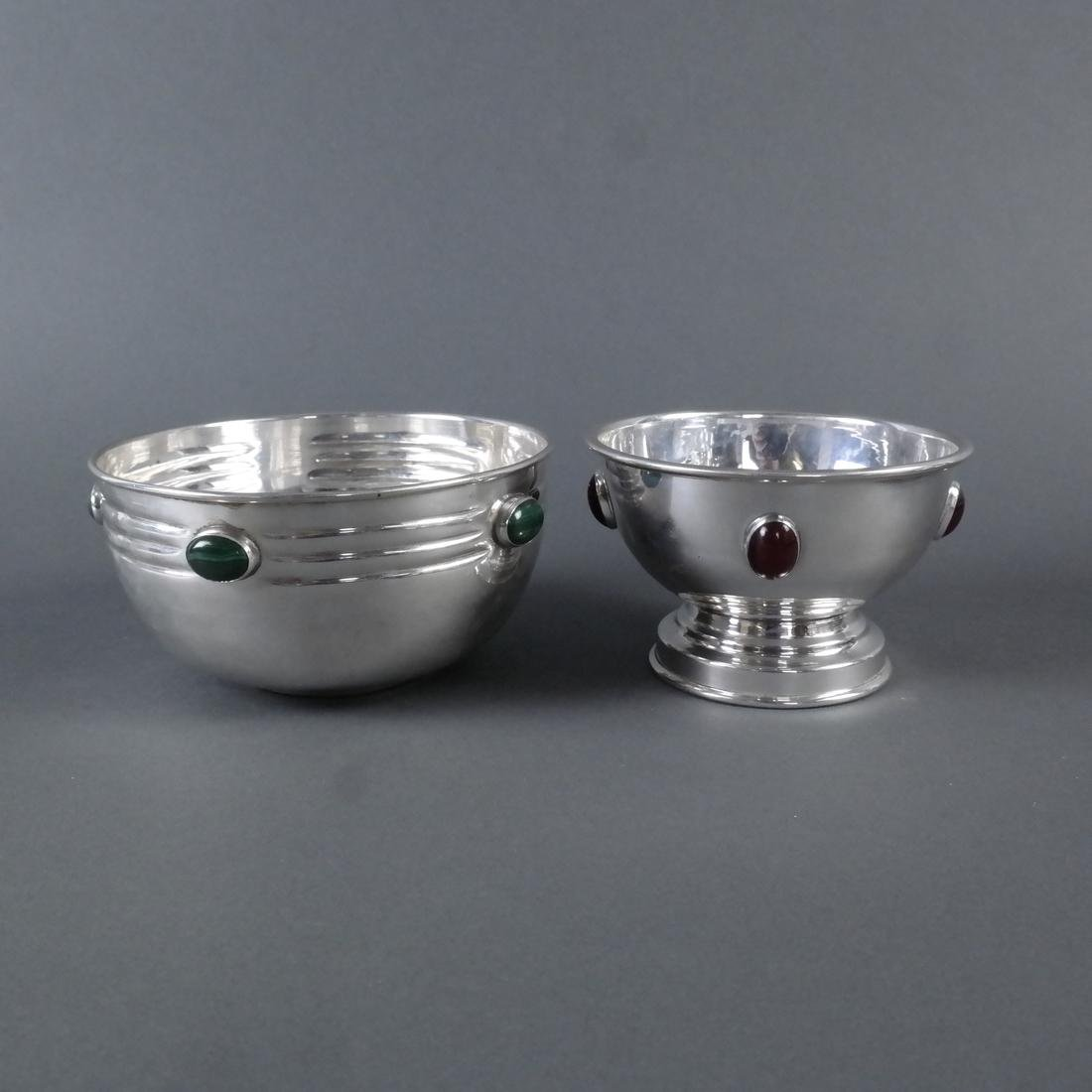 "Two .900 Standard Silver ""Jeweled"" Bowls"