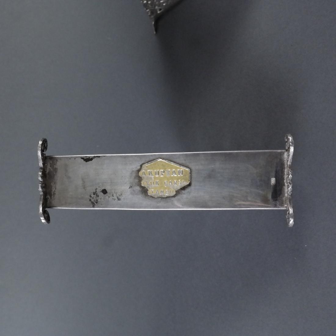 Three Silver Ornate Menu Holders - 10
