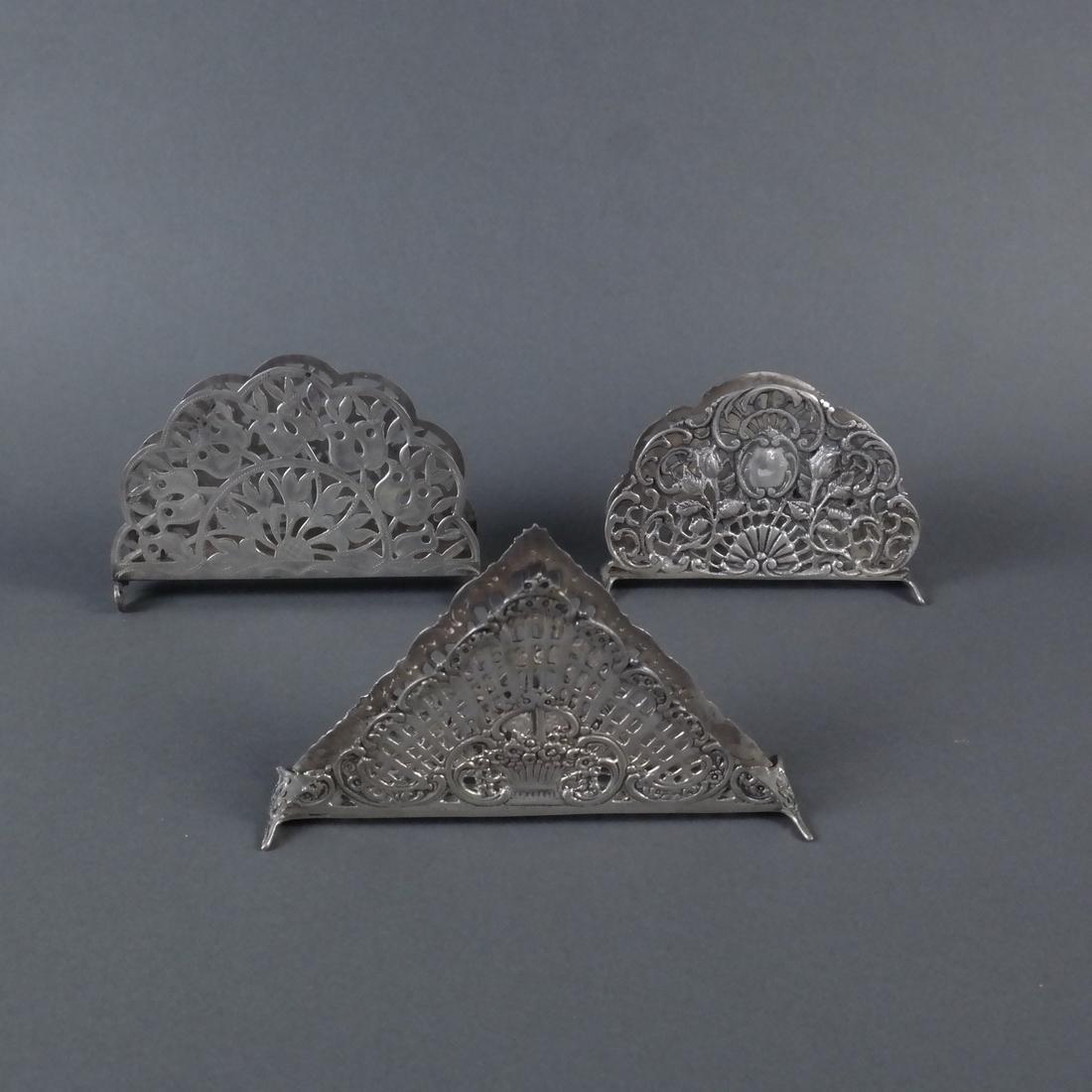Three Silver Ornate Menu Holders - 5