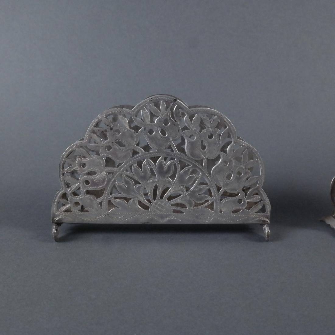 Three Silver Ornate Menu Holders - 6