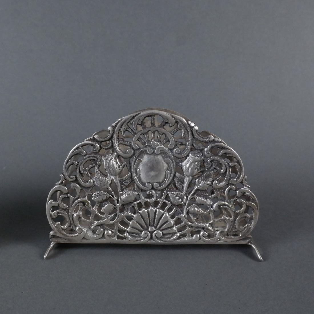 Three Silver Ornate Menu Holders - 7