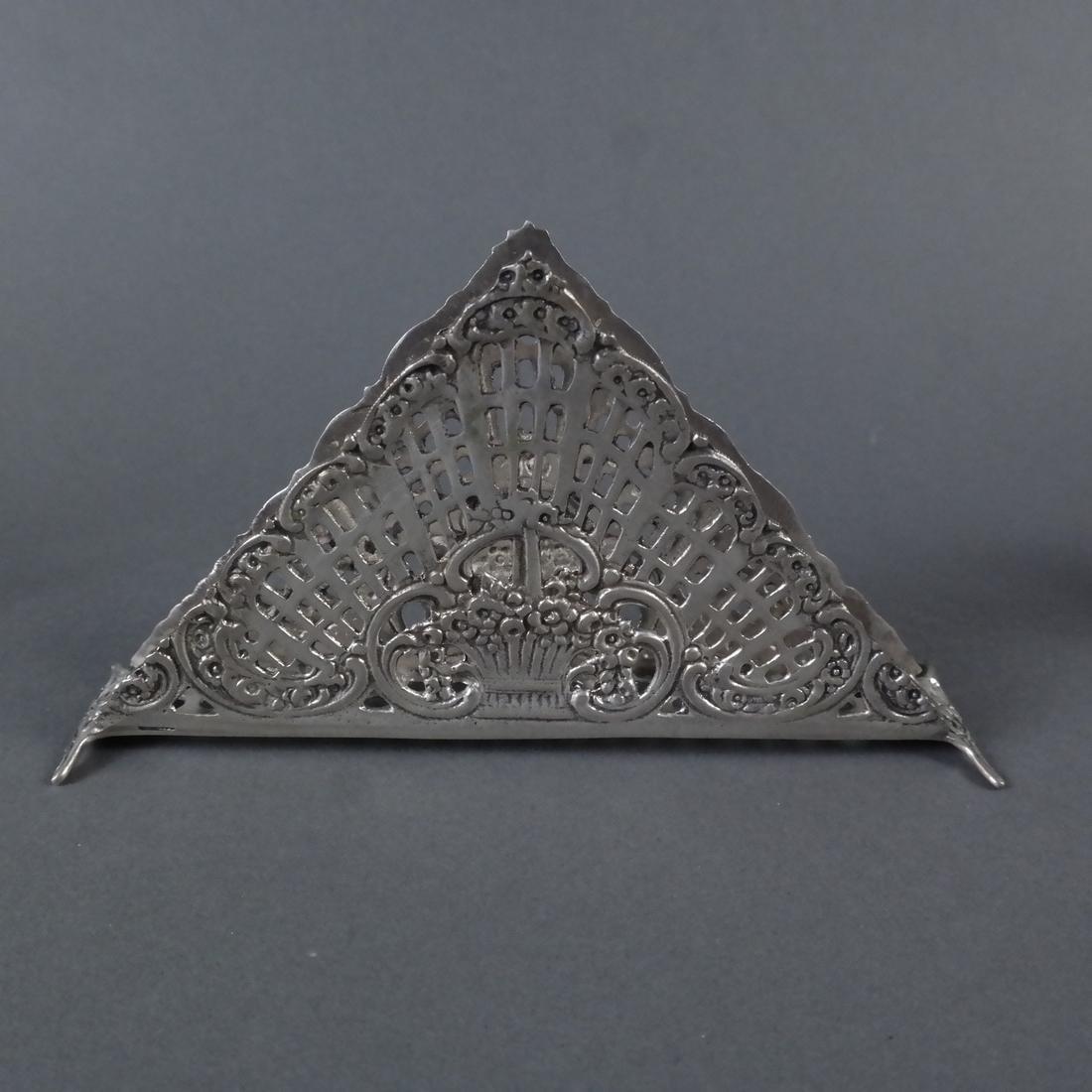 Three Silver Ornate Menu Holders - 8