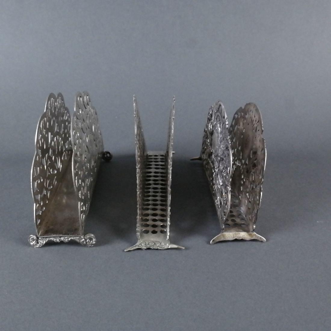 Three Silver Ornate Menu Holders - 9