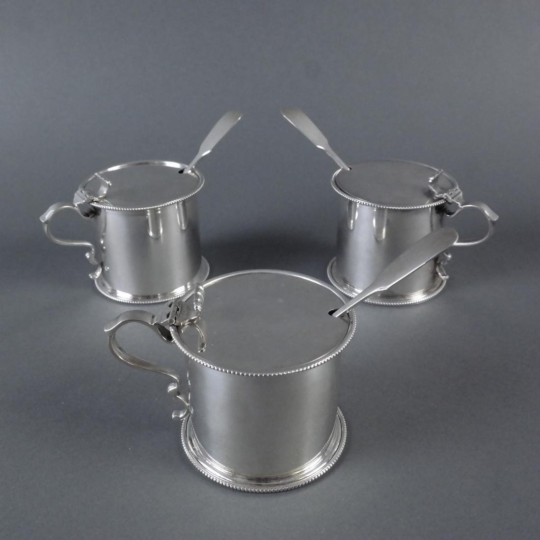 Three .900 Standard Silver Mustard Pots