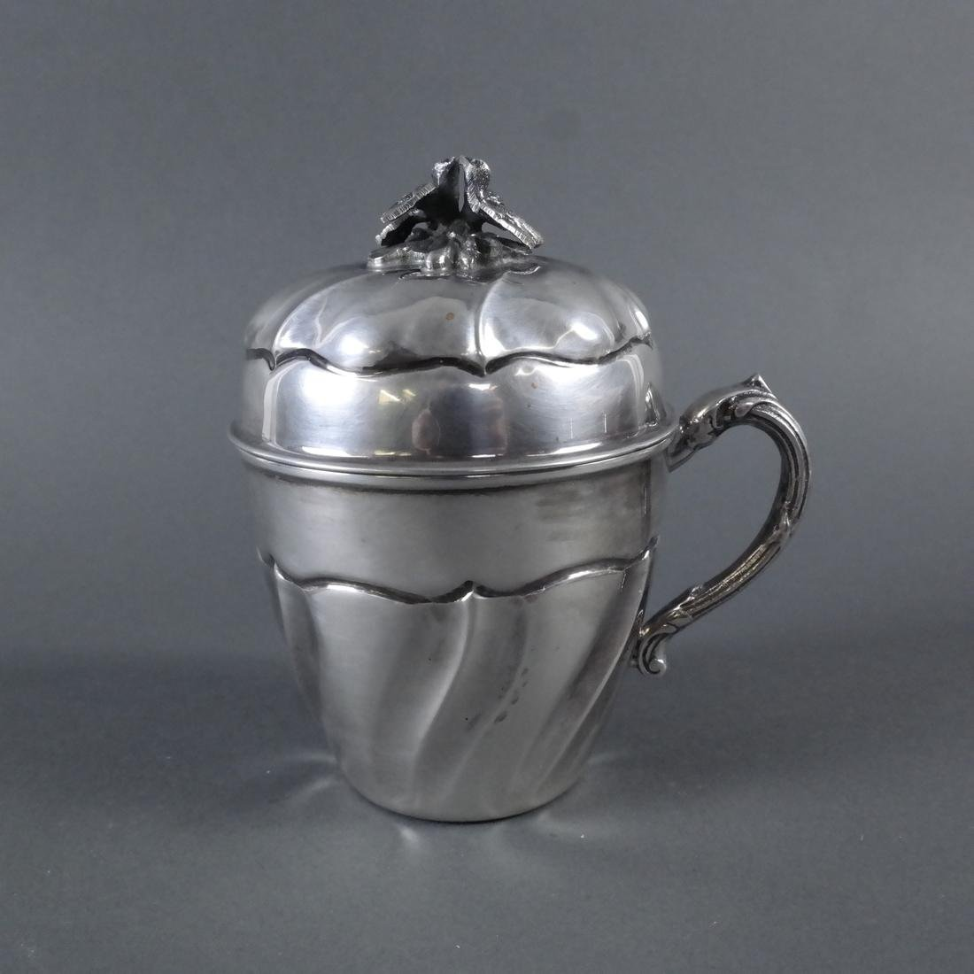 Silver Covered Cup With Swirl Motif