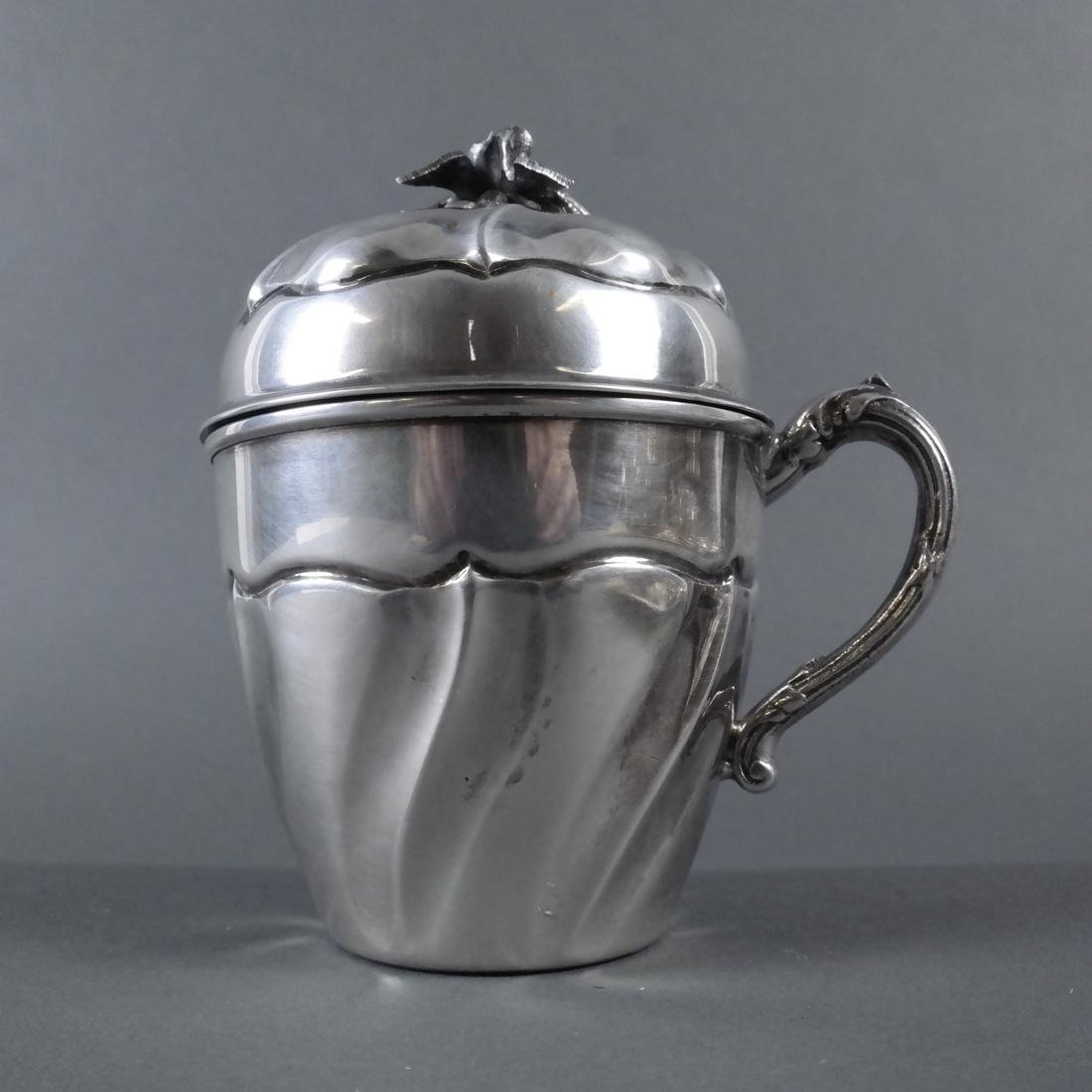 Silver Covered Cup With Swirl Motif - 4
