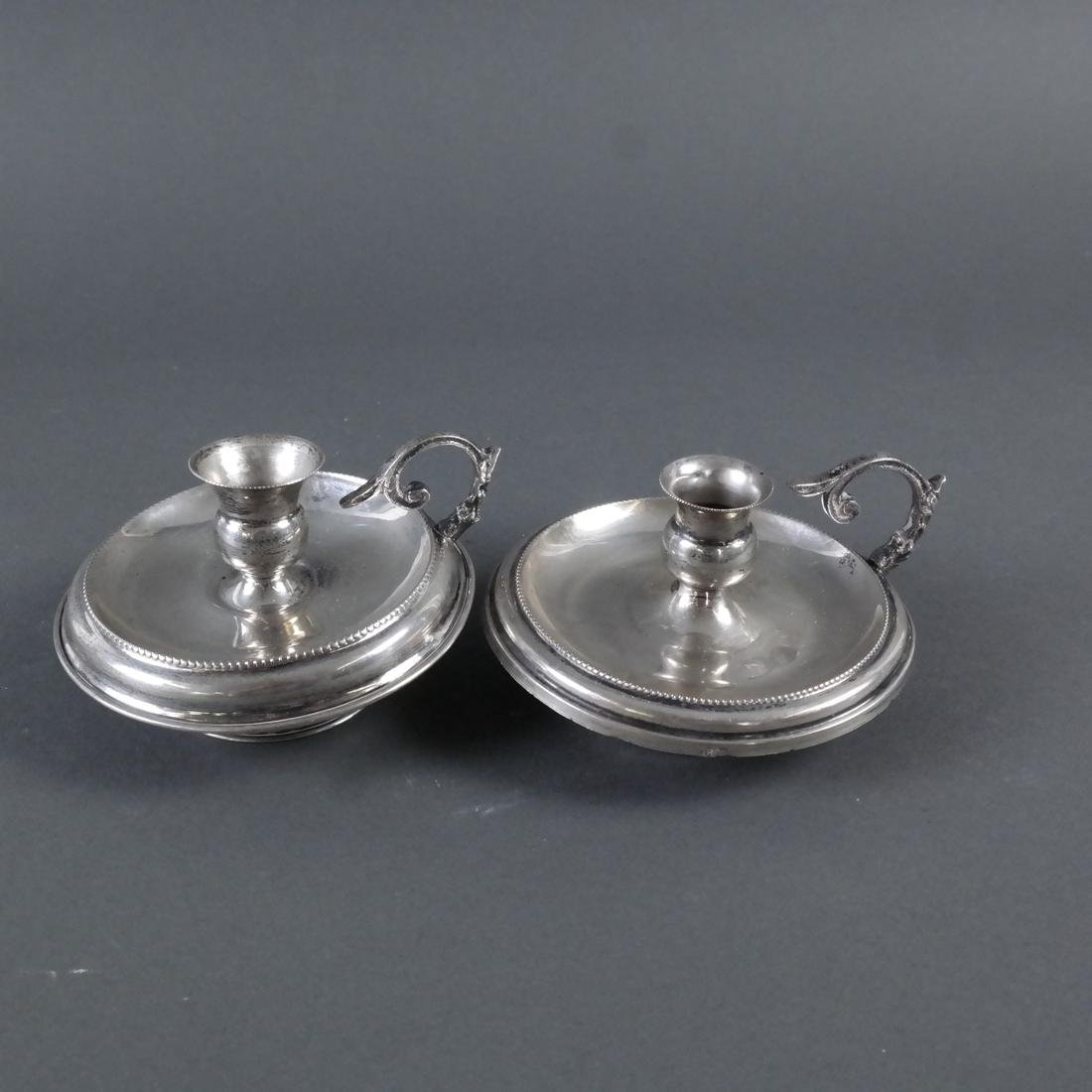 Pair .800 Standard Silver Chamber Sticks