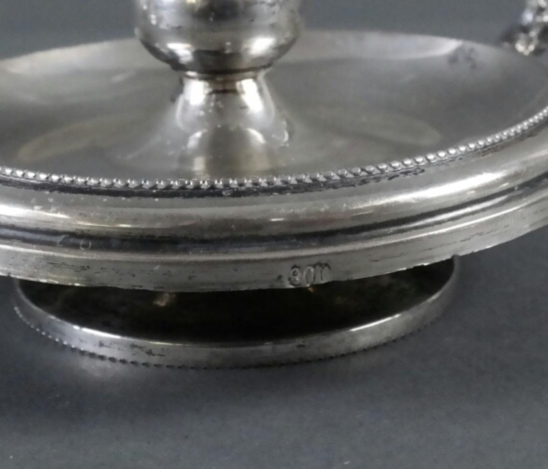 Pair .800 Standard Silver Chamber Sticks - 3