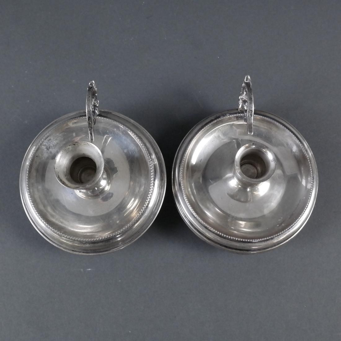 Pair .800 Standard Silver Chamber Sticks - 6