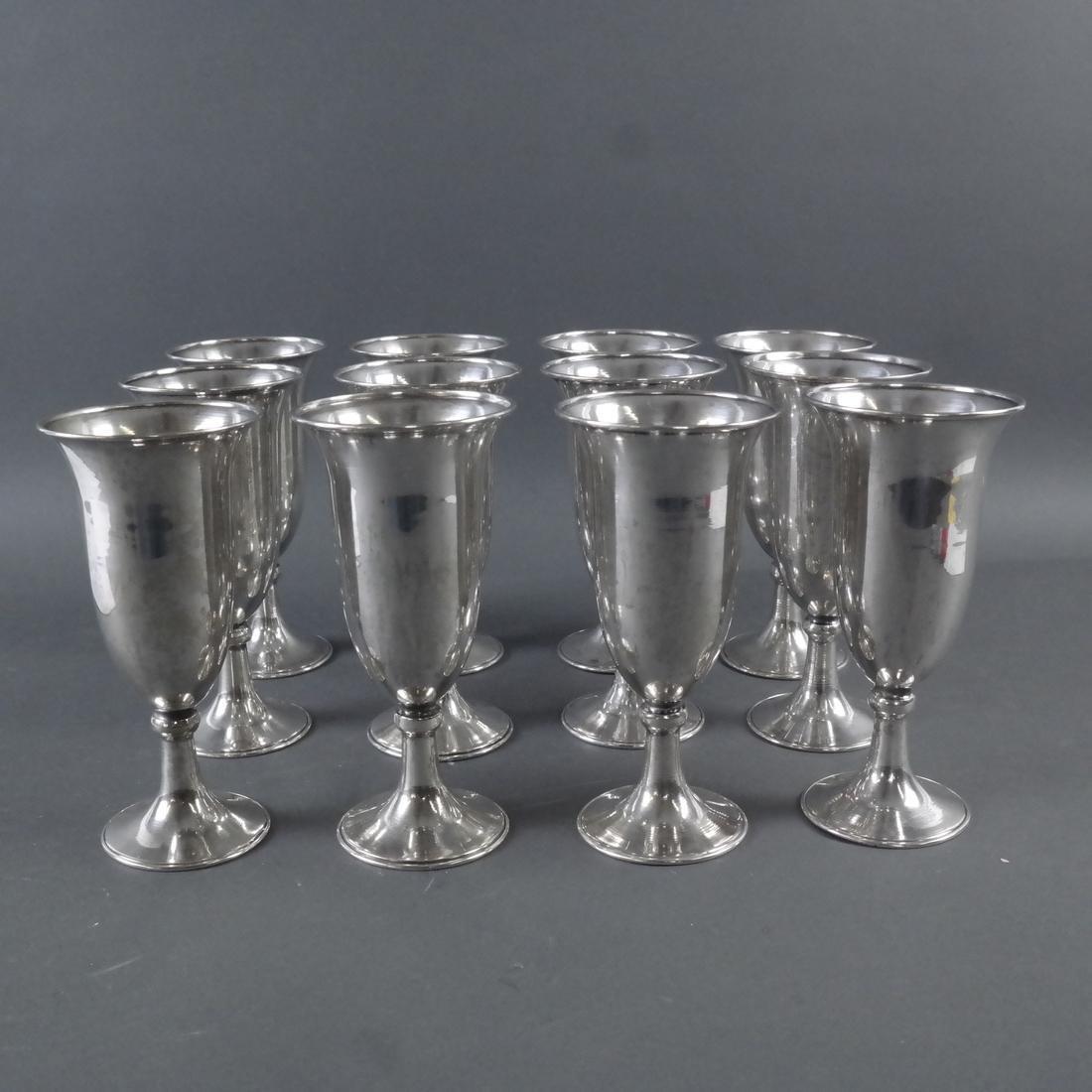Set Twelve .900 Standard Silver Goblets - 4