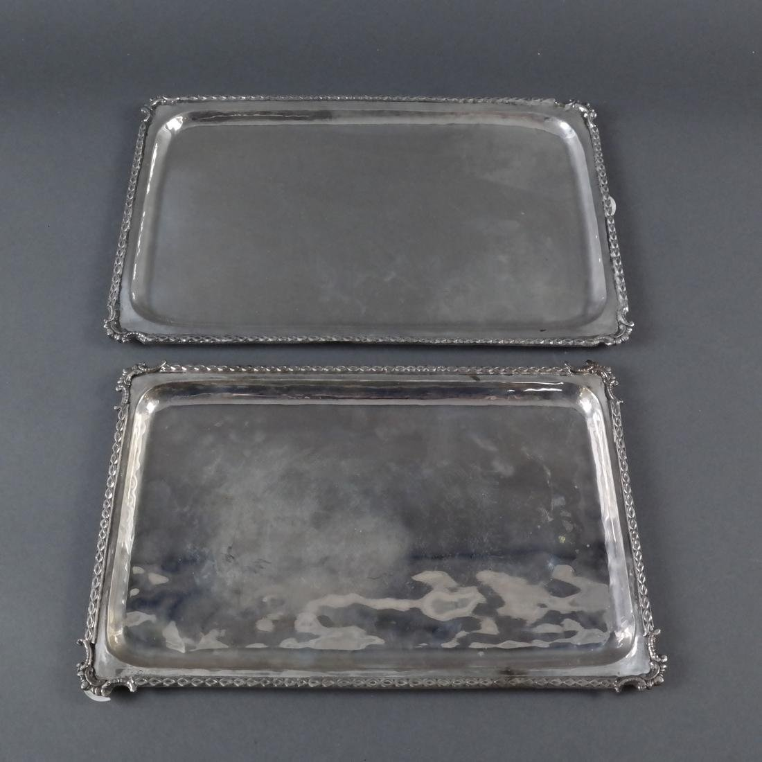 Two .800 Standard Silver Trays