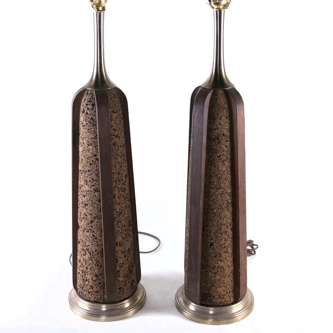 Pair of Cork and Walnut Lamps