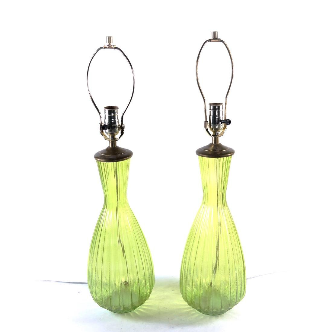 Pair of Green Glass Lamps