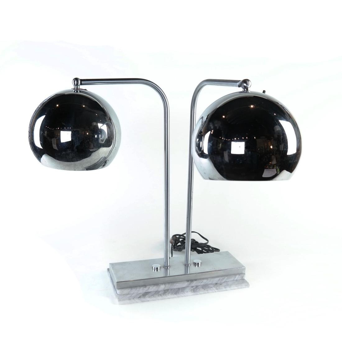 Modern Chrome and Marble Lamp