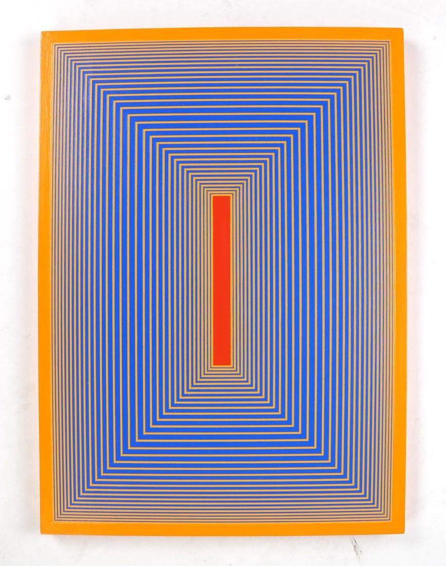 """Richard Anuszkiewicz, """"Inner Red II"""" - Acrylic on Panel"""