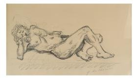 Giorgio de Chirico, Reclining Male Nude - Pencil and