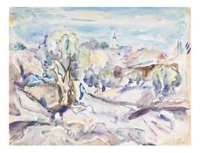 Mordechai Levanon, Landscape - Watercolor