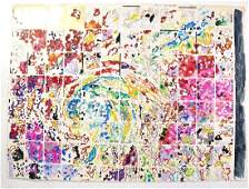"""Nancy Graves,""""Grid with Gold,"""" 1974 - Mixed Media on"""