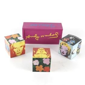 After Andy Warhol, Domino Set and Three Magic Cubes