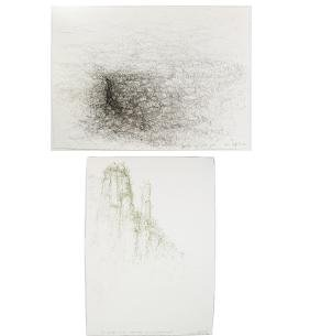 Raffi Kaiser, Two Abstract Drawings - Ink on Paper