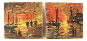 Robert Patterson, Two Sailing Scenes, Gouache On