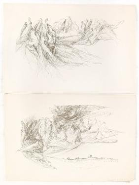 Josianne De Cock, Two Surrealist Scenes - Lithographs