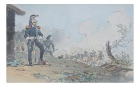 French Battle Scene - Watercolor