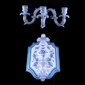 Blue & White Chelsea Porcelain Sconce