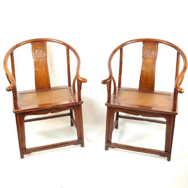 Pair Chinese-Style Huanghuali Chairs
