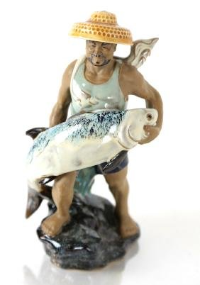 Chinese Mud Figure, Man with Fish