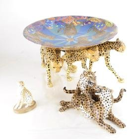 Three Leopard Sculptural Objects