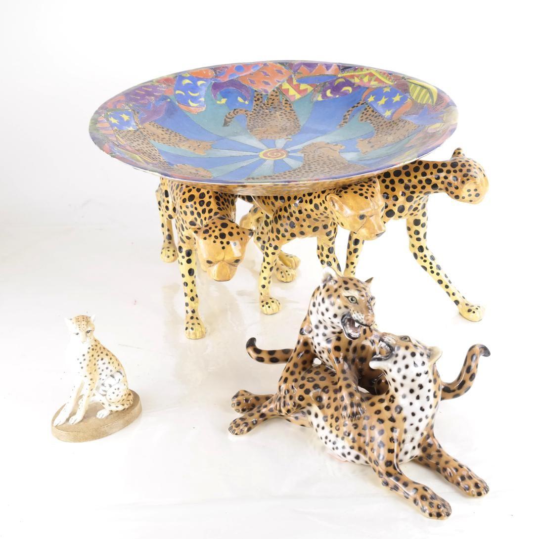 Three Leopard Sculptural Objects