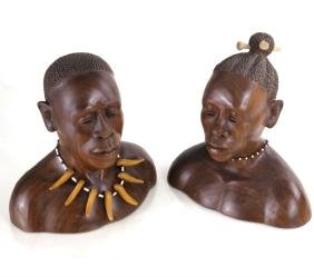 Harmon Heckart, Pair of Wood Busts
