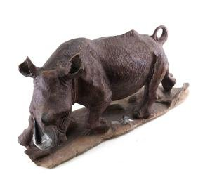 Wood Sculpture of A Water Buffalo