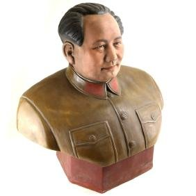 Chinese Glazed Porcelain Mao Bust